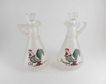 Roosters Oil and Vinegar Cruet Frosted Glass Bottles