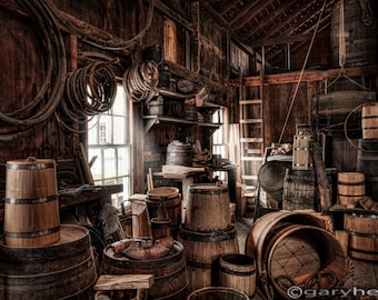 The Coopers Shop - 19th Century Rustic Interior, Workshop, Barrels, Containers, Occupational, Windows, Natural Light, Old World, Print