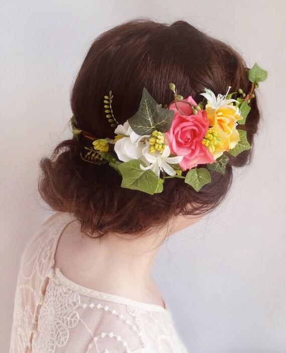 Items Similar To Bridal Floral Crown Pink Flower Crown