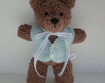 Classic Teddy Bear - 11 Inches Tall, Plush Animal - Chocolate Brown with Mint Green Sweater Vest