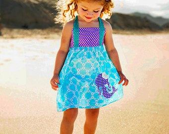 Mermaid Applique Dress - Beach Party Dress - Aqua and Purple Dress