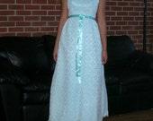 Vintage Aqua Illusion Lace Sheath Party Dress 60s Ilusion Lace Prom Wedding Gown