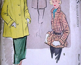 Vintage 50's McCall's 8646 Sewing Pattern, Misses' Topper/Car Coat, Size 12, Bust 30, Uncut