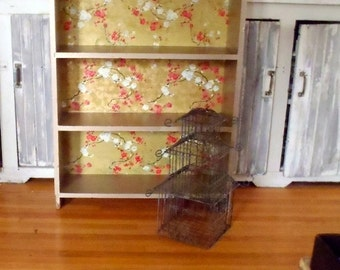 Vintage Solid Wood 3 Shelf Book Case Asian Inspired