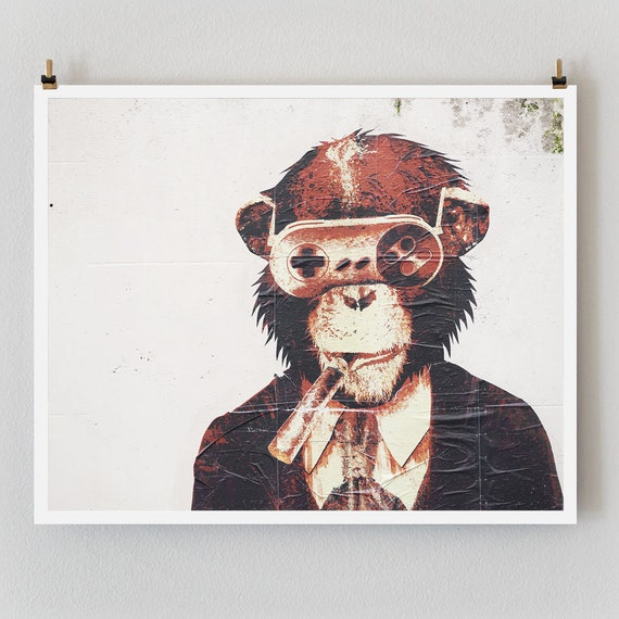 "Paris Photography, ""Graffiti Monkey"" Paris Print, Urban Modern Art Print, Boyfriend Gift for Him, College Student Gift"