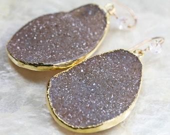 Druzy Earrings - Brown Druzy Earrings -  LARGE Druzy Earrings - Dangle Earrings- Ready to Ship -