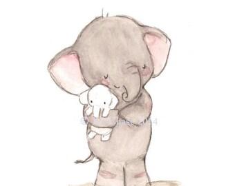 """Children's Art -- """"ELEPHANT LOVE"""" -- Archival Print"""