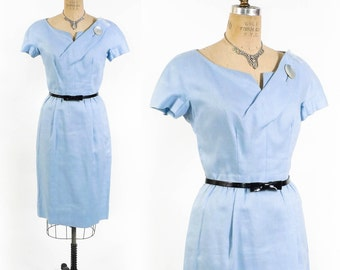 Vintage 50s Dress // 1950s Dress // 50s Wiggle Dress // 1950s Wiggle Dress // Light Blue Fitted Pencil Dress - sz M - 28-29 Waist