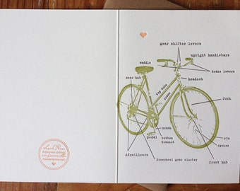 Make your friends and family know the parts of their bike LETTERPRESS BOX of CARDS