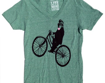 Bicycle Vneck TShirt, Riding Monkey in Unisex Green Heather