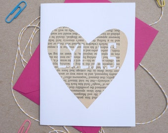 "Cutout ""LYLAS"" Card, Hand-cut Cards on Vintage Paper, Paper Hearts, Love You Like A Sister, Friendship Cards"