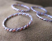 Earthy two toned twisted silver and copper ring - mixed metal stacking ring sizes 3 - 10