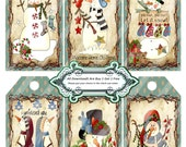 Primitive 1349 Christmen and Friends Tags Printable Digital Collage Sheet