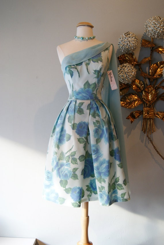 Vintage 1950s Blue Rose Print Party Dress With Asymmetrical