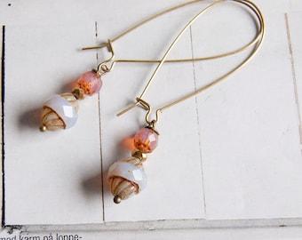 Greta - elegant long length beaded earrings