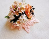 Apricot and White Roses, Blush Pink Forget me Nots, Maple Leaves, OOAK handmade velvet wrapped millinery flower bouquet, vintage florals