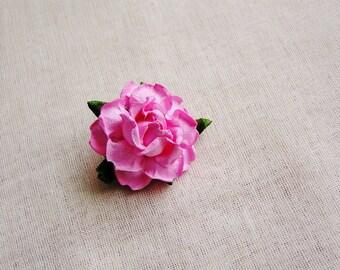 Bon Bon Pink Garden Rose Millinery flower Brooch Pin- wedding corsage boutonniere, paper jewelry, decoration, embellishment