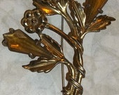 Vintage Little Nemo Floral Spray with Amber Stones Brooch - 1940's