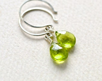 Orchard Earrings - apple green peridot gemstone drop earrings, green peridot earrings, august birthstone peridot jewelry