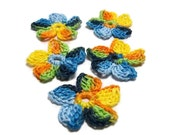 Crochet Applique Mini Flower Motif Flower Embellishment Green Orange Yellow Blue Black Crochet Flower Applique Crochet Motif Crochet Flower