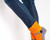 Knit Slipper Sock Adult Mary Jane Slippers Sox Orange House Slippers Grey Womens Slippers Home Slippers Gray House Shoes Home Shoes