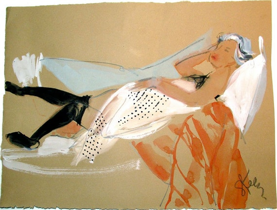 Nude painting- Boudoir Session 6.9 original watercolor nude painting by Gretchen Kelly
