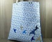 Luxury Shopper - Tote - Shoulder Bag - Birds  - Tartan - Flowers - Blue - Natural - Taupe - Large Zip Pocket - Strong