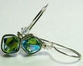 Fern Green Crystal Earrings Swarovski Sterling Silver One Piece Wire Wrapped Earrings E591A