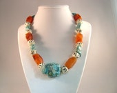 Chunky Turquoise, Carnelian, Bone, and Sterling Silver Necklace RKS436