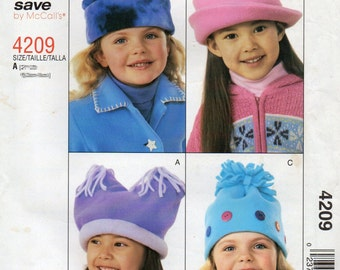 McCalls Stitch N Save 4209 Girls Fleece HAT Pattern 4 Styles  2 Sizes EASY Childs Winter Cap Sewing Pattern UNCUT