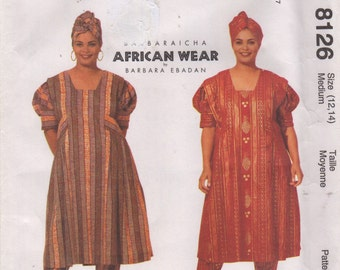 McCalls 8126 Misses African Tucked Dress Pants Headwrap Pattern BARBARAICHA Womens Sewing Size 12 14 Or Lg 16 18 Or 8 10 UnCuT