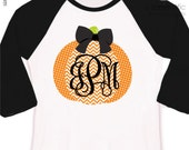 Fall shirt monogram chevron pumpkin personalized raglan style Tshirt - adorable custom monogrammed pumpkin raglan shirt