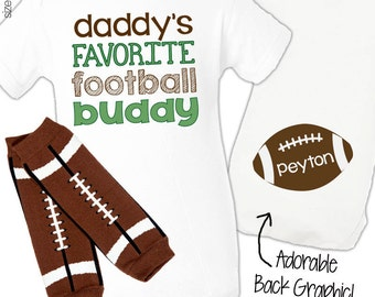Personalized boy football bodysuit and leg warmers daddys little football buddy set great new baby or baby shower gift