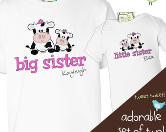 Brother or sister or any combination matching cow sibling Tshirt set