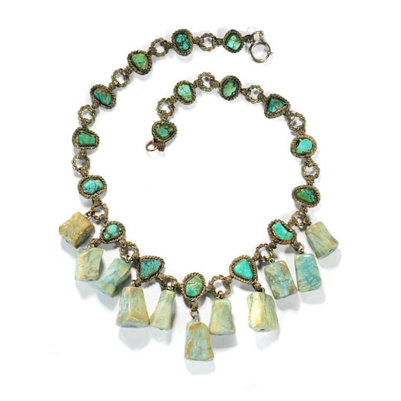 turquoise necklace charm necklace deco by boylerpf