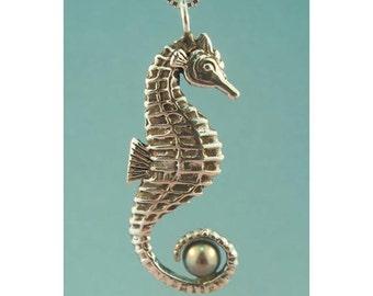 Seahorse Necklace with Pearl Pendant Silver - Seahorse Jewelry - Pearl Jewelry - Ocean Jewelry - Silver Seahorse Sea Horse