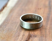 Men's Matte Secret Message Ring. Custom Stamped Sterling Silver Wedding Band. Personalized. 6mm. Flat Ring. Brushed Finish. Eco.