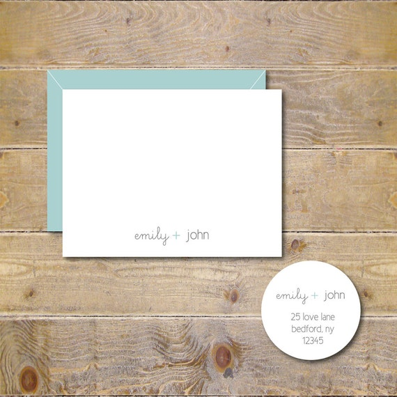 Wedding Thank You Cards . Bridal Shower Thank You Cards . Personalized . Thank You Notes  - Mr. and Mrs.