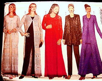 Womens Dress Pattern Misses Size 14 16 18 Bust 36 38 40 UNCUT Long Maxi Dress, Long Duster Jacket, Tunic and Pants Sewing Pattern