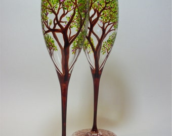 Champagne Toasting  Flutes Wedding Anniversary Hand Painted Spring Trees - Set of 2