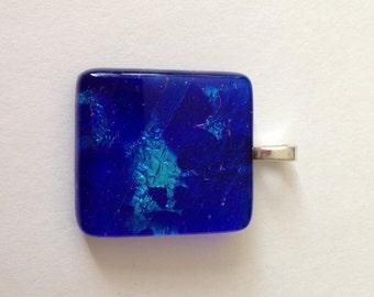 Dark Blue and Light Blue Dichroic Fused Glass Pendant 1716