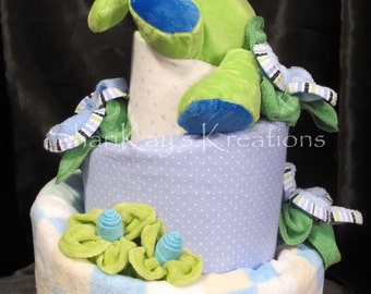 Diaper Cake - Topsy Turvy Plush Puppy Theme - 3 Tiers - Baby Shower Centerpiece - Baby Gift