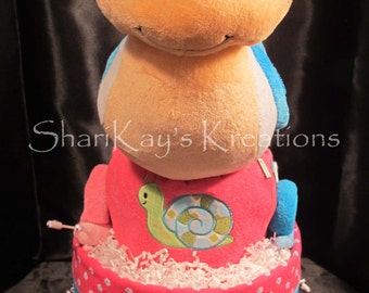 Diaper Cake, Pink, Turquoise ,Plush Snail, 3 Tier, Baby Gift, Baby Shower, Centerpiece
