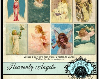 Angels Digital Collage Sheet,  Angel Tag Set ACEO Size, ATC, Digi Stamp, Gift Tags, Clipart Tags