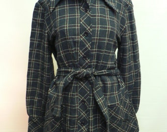 SPECIAL OFFER-vintage 1970s does 1940s blue tartan plaid wool jacket dead stock /WWII swing era style jacket