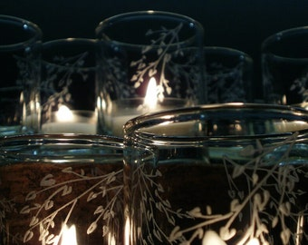 72 Spring 'Branches and Leaves' Votive Candle Holders Engraved Glass Wedding Decor Woodland Wedding
