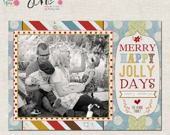 Shabby Chic Merry, Happy, Jolly Days- Custom Christmas Cards or Holiday Greeting Card