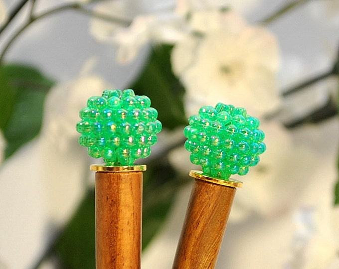 "Green Hair Sticks Hair Chop Sticks Green Bun Pins Handmade Hairpins - ""Meadow Song"""