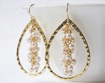 Pearl Cluster Earrings, Jewelry, Earrings, Cluster Earrings  Bridesmaid Jewelry Gift, Handmade Earrings, Christmas Gift, Xmas