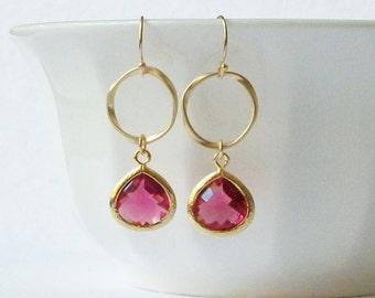 Ruby Garnet Twist Dangle Earrings
